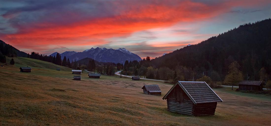 Sunrise above Karwendel Range, Bavaria Photo Research, October 2015